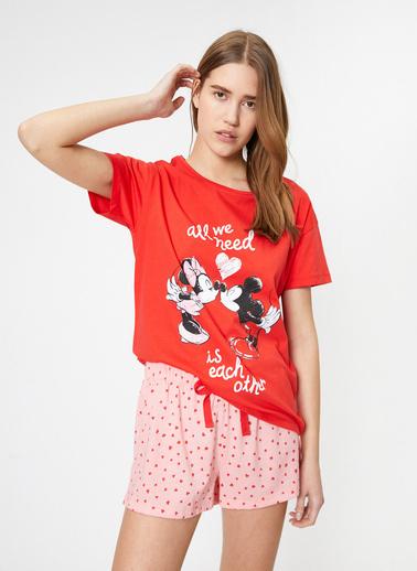Koton Yazili Baskili Pijama Takimi Kırmızı